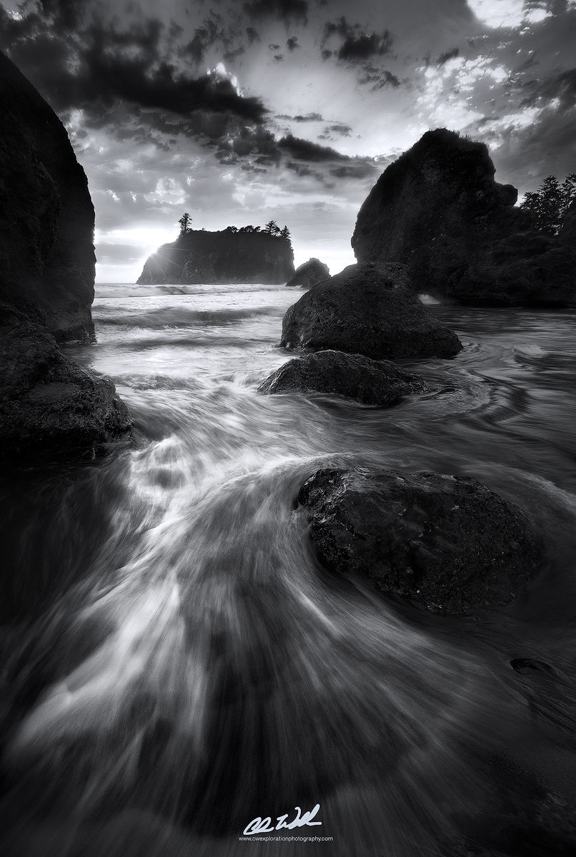Black and white photography beach landscapes
